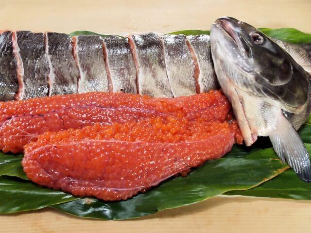 鮭の切り身・イクラにはアスタキサンチンが凝縮されている