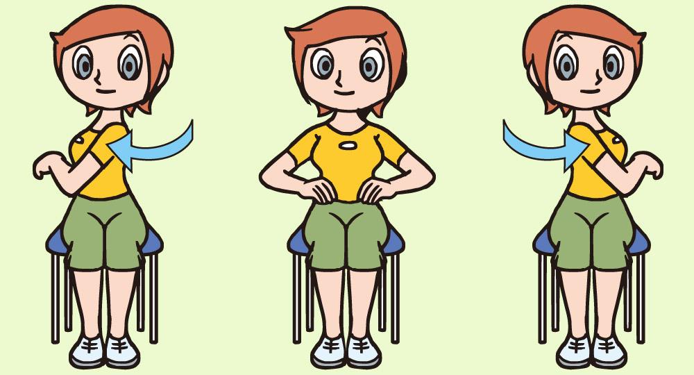 後頸筋を伸ばすことを目的とした腕を振るストレッチ・マッサージの方法(椅子)