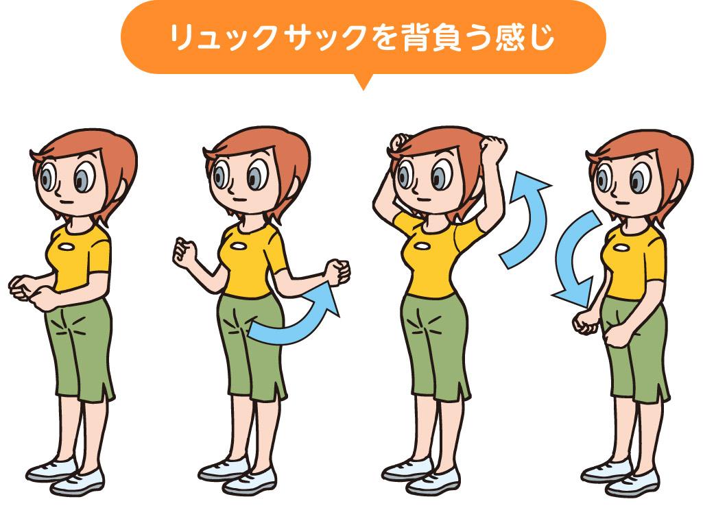 僧帽筋を伸ばすことを目的とした肩を回すストレッチ・マッサージの方法