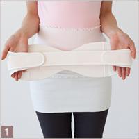 妊娠中における骨盤ベルトの付け方1